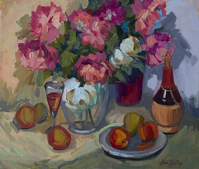Wine Bottle Painting - Summer Peonies by Diane McClary