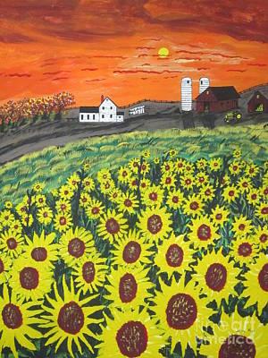 Sunflower Painting - Sunflower Valley Farm by Jeffrey Koss