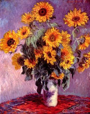 Digital Sunflower Painting - Sunflowers by Claude Monet