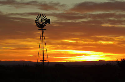 64 Photograph - Sunrise, Windmill, Cimarron, New by Maresa Pryor