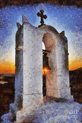 Painting - Sunset Behind A Belfry by George Atsametakis