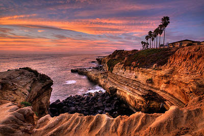 Hdr Landscape Photograph - Sunset Cliffs by Peter Tellone