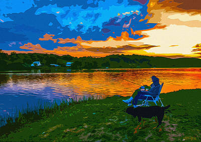 Companion Digital Art - Sunset Fishing by Brian Stevens