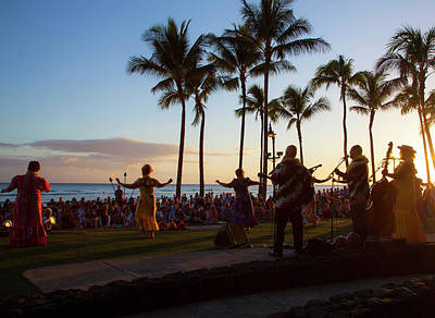 Hula Photograph - Sunset Hula Show, Waikiki, Honolulu by Douglas Peebles