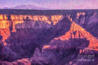 Grand Canyon Digital Art - Sunset North Rim Grand Canyon by Liz Leyden