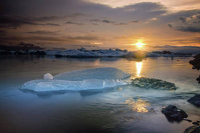 Photograph - Sunset Over Glacier Bay In Iceland by Keith Ladzinski