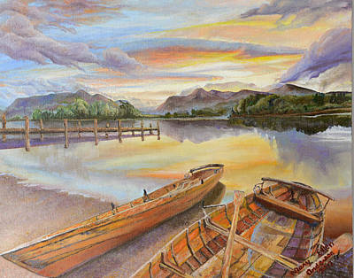 Rowboat Painting - Sunset Over Serenity Lake by Mary Ellen Anderson
