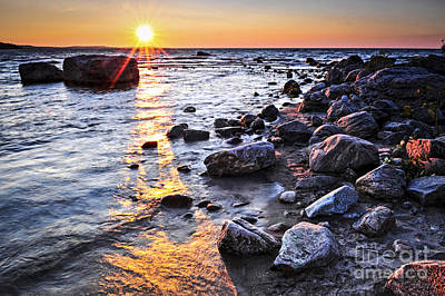 Georgian Bay Photograph - Sunset Over Water by Elena Elisseeva