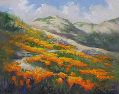 Sunset State Beach Poppies Art Print by Karin  Leonard
