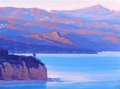 Plein Air Painting - Sunset Time Malibu by Elena Roche