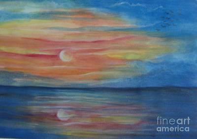 Sunset Art Print by Usha Rai