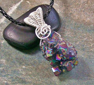 Heather Jordan Jewelry - Sunshine Titanium Amethyst Crystal Druzy And Silver Pendant by Heather Jordan