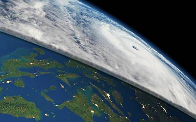 Super Typhoon Haiyan Print by Planetary Visions/nasa-jpl/noaa