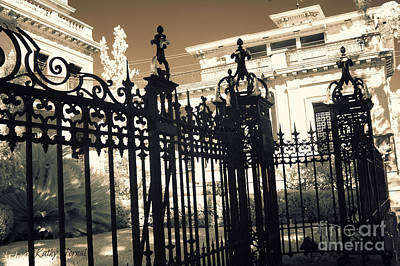Photograph - Surreal Gothic Savannah Mansion Iron Gates by Kathy Fornal