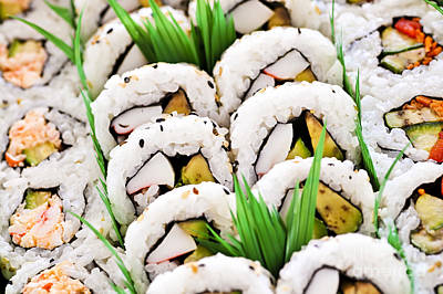 Food And Beverage Royalty-Free and Rights-Managed Images - Sushi platter by Elena Elisseeva
