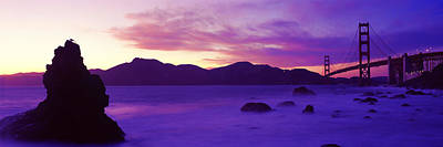 Suspension Bridge Across A Bay At Dusk Art Print by Panoramic Images