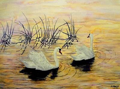 Swans Art Print by Svetla Dimitrova