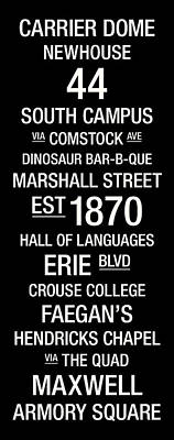 Syracuse College Town Wall Art Art Print