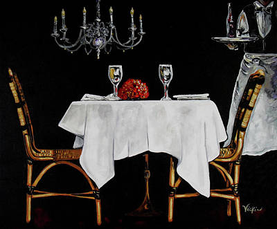 Dinner For Two Painting - Table For Two by Vickie Warner