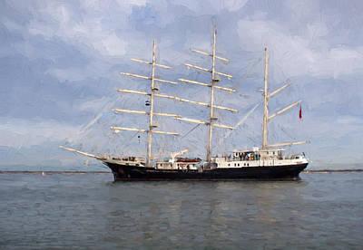 Tall Ship At Anchor Art Print by Colin Porteous