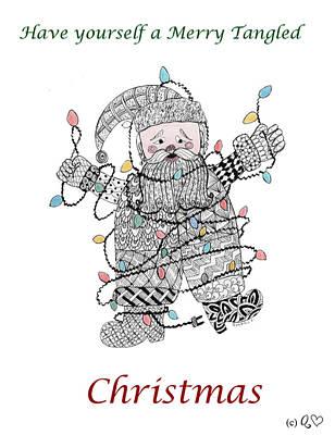 Drawing - Tangled Santa by Quwatha Valentine