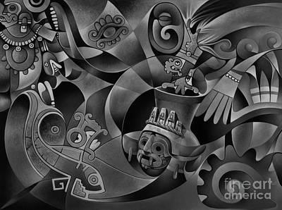 Maya Painting - Tapestry Of Gods - Tlaloc by Ricardo Chavez-Mendez