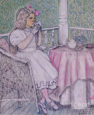 Girls Drawing - Tea Time For Alexis by Linda Simon