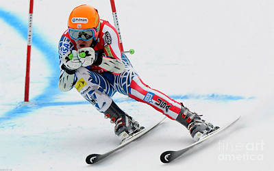 Skiing Action Painting - Ted Ligety Skiing  by Lanjee Chee