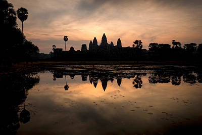 Temple At The Lakeside, Angkor Wat Art Print by Panoramic Images