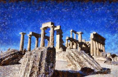 Temple Painting - Temple Of Aphaia Athena by George Atsametakis