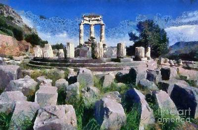 Painting - The Tholos At The Temple Of Athena Pronaia In Delphi Iv by George Atsametakis