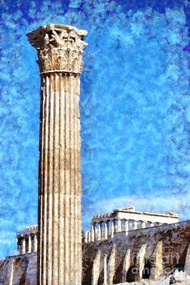 Pillar Painting - Temple Of Olympian Zeus And Acropolis by George Atsametakis