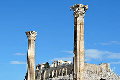 Zeus Photograph - Temple Of Olympian Zeus And Acropolis In Athens by George Atsametakis