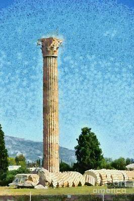 Athens Painting - Temple Of Olympian Zeus  by George Atsametakis