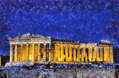 Antiquity Painting - Temple Of Parthenon by George Atsametakis