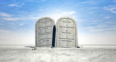 Ten Commandments Standing In The Desert Print by Allan Swart