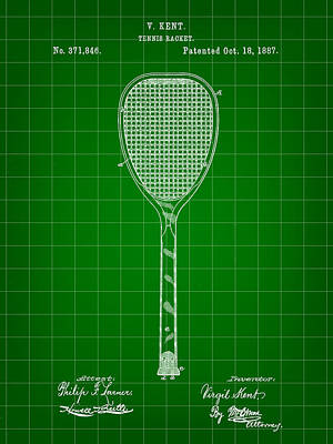 Tennis Racket Patent 1887 - Green Art Print by Stephen Younts