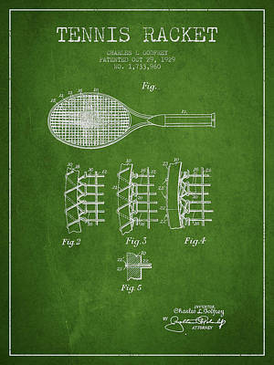 Tennis Racket Digital Art - Tennnis Racket Patent Drawing From 1929 by Aged Pixel
