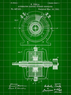 Resistor Digital Art - Tesla Alternating Electric Current Generator Patent 1891 - Green by Stephen Younts