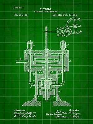 Resistor Digital Art - Tesla Reciprocating Engine Patent 1894 - Green by Stephen Younts