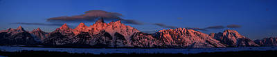 Photograph - Teton Range With Alpenglow by Raymond Salani III