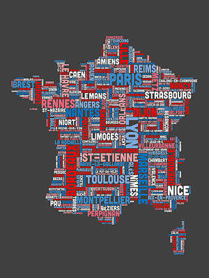 Typography Map Digital Art - Text Map Of France Map by Michael Tompsett