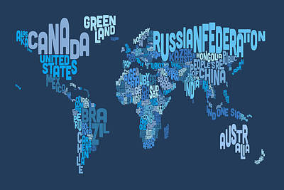 World Text Map Digital Art - Text Map Of The World Map by Michael Tompsett