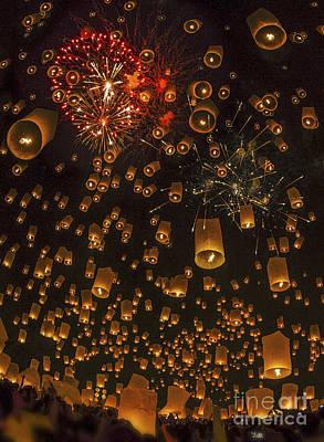 Thai People Floating Lamp Art Print by Anek Suwannaphoom