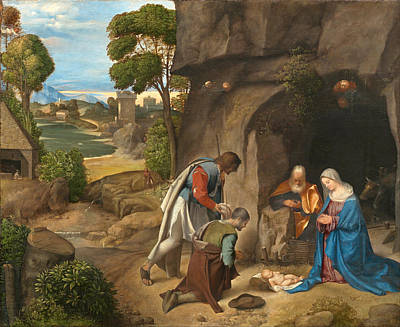 The Adoration Of The Shepherds Art Print by Giorgione