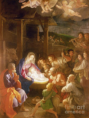 Adoration Painting - The Adoration Of The Shepherds by Guido Reni