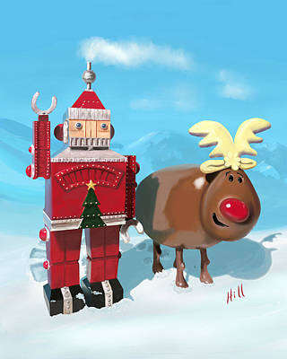 Kevin Hill Digital Art - The Adventures Of Oh Deer And Robo Santa by Kevin Hill