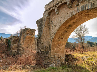 Animal Watercolors Juan Bosco - The ancient bridge at Ponte Novu in Corsica by Jon Ingall