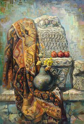 Armenian Painting - The Armenian Still-life With A Armenian Doll by Meruzhan Khachatryan