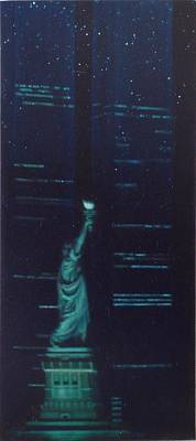 Statue Of Liberty At Night Painting - The Ascent Of Man by Sean Connolly